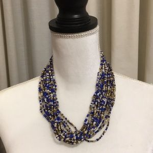 Jewelry - MULTI COLORED BLUE BEADED NECKLACE NWOT